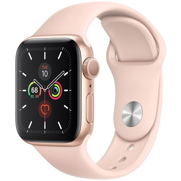 Apple Watch Series 5 Cellular 40mm Gold Aluminum Case with Pink Sand Sport Band (MWX22)