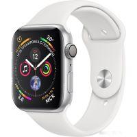 Apple Watch Series 4 44 мм (алюминий серебристый/белый)(MU6A2)