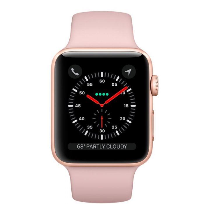Apple Watch Series 3 LTE 38 мм (золотистый алюминий/розовый песок) (MQJQ2)