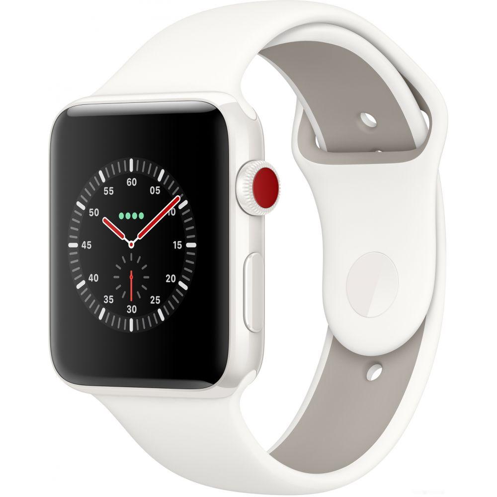 Apple Watch Series 3 LTE 42 мм (белый керамический/белый)(MQM52)