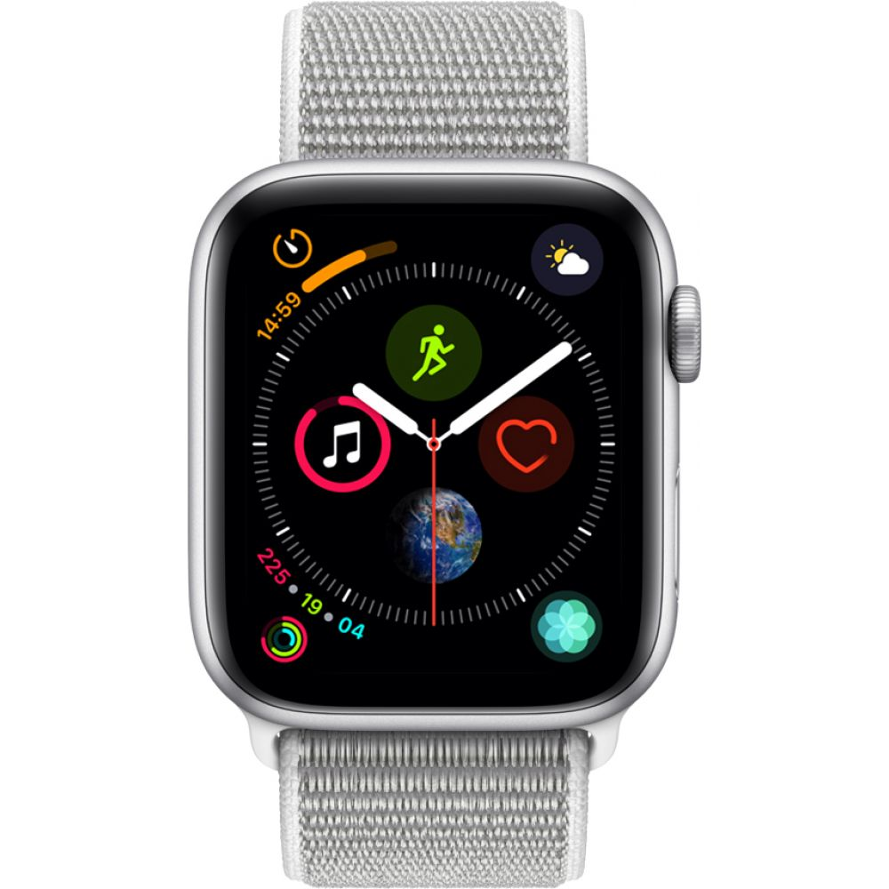 Apple Watch Series 4 Sport 44mm Silver Aluminum Case with Seashell Sport Loop (MU6C2)