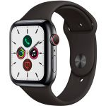 Apple Watch Series 5 GPS + Cellular 44mm (Space Black Stainless Steel Case with Black Sport Band) (MWWK2)