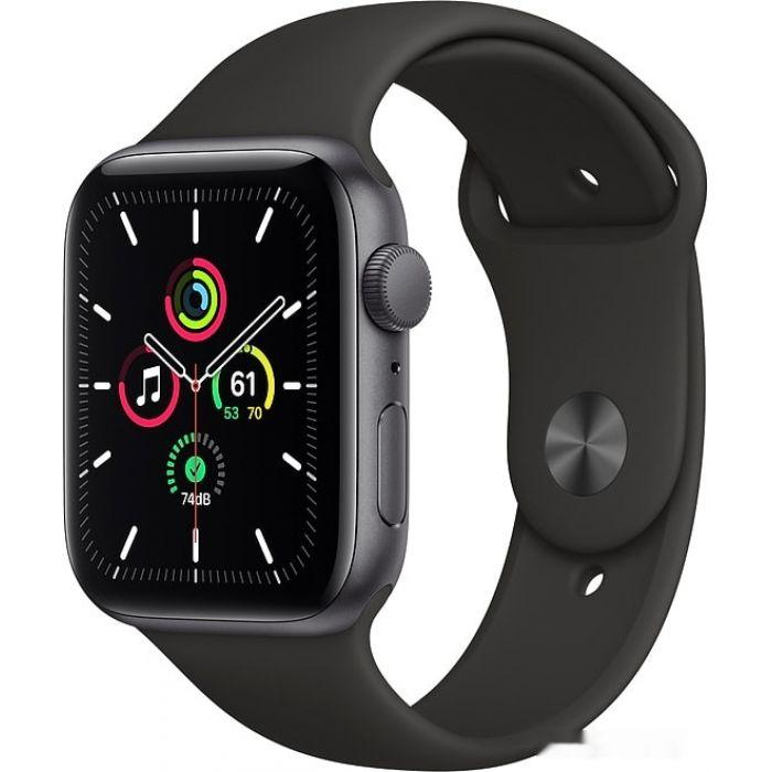 Apple Watch SE 44 мм (алюминий серый космос/черный спортивный) (MYDT2)