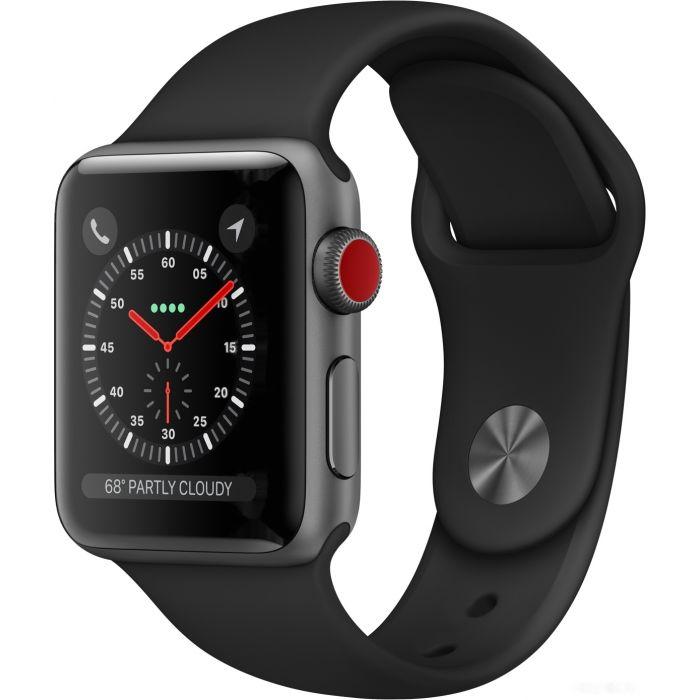 Apple Watch Series 3 LTE 38 мм (алюминий серый космос/черный) (MQKG2)