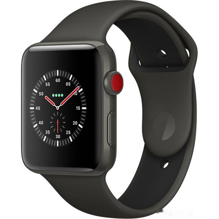 Apple Watch Series 3 LTE 42 мм (серый керамический/черный) (MQM62)