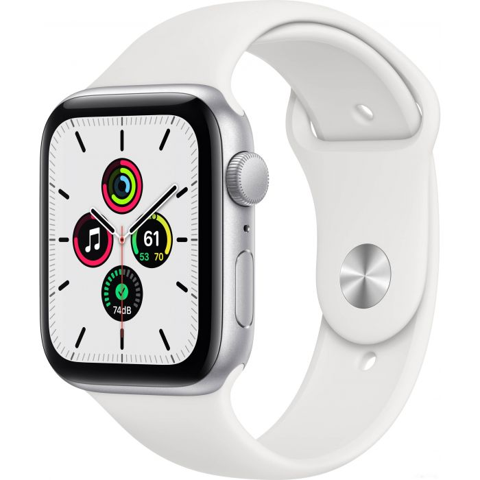 Apple Watch SE 44 мм (алюминий серебристый/белый спортивный) (MYDQ2)
