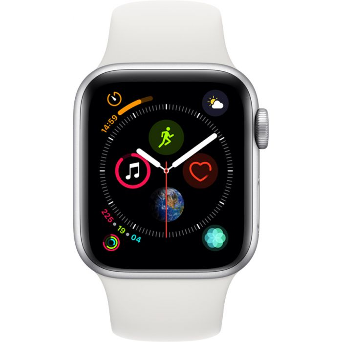 Apple Watch Series 4 Sport 40mm Silver Aluminum Case with White Sport Band (MU642)