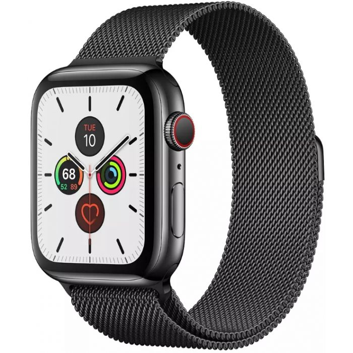 Apple Watch Series 5 GPS + Cellular 44mm Stainless Steel Case with Milanese Loop (Black) (MWWL2)