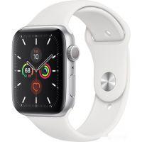 Apple Watch Series 5 44 мм (серебристый алюминий/белый спортивный)(MWVD2)