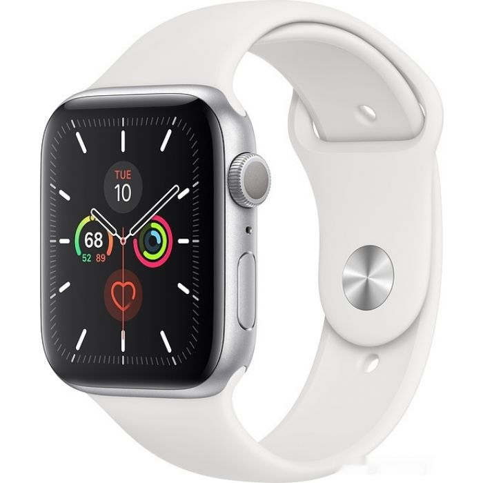 Apple Watch Series 5 44 мм (серебристый алюминий/белый спортивный) (MWVD2)