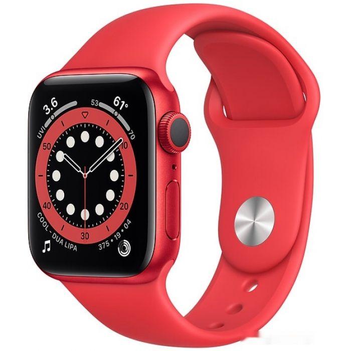 Apple Watch Series 6 40 мм (алюминий красный/красный спортивный) (M00A3)