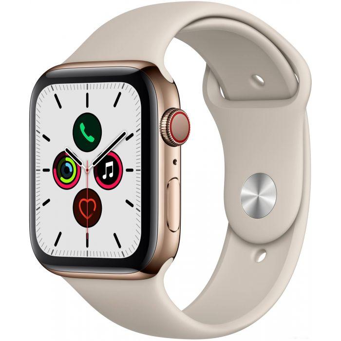 Apple Watch Series 5 LTE 44 мм (сталь золотистый/песочный спортивный) (MWW52)