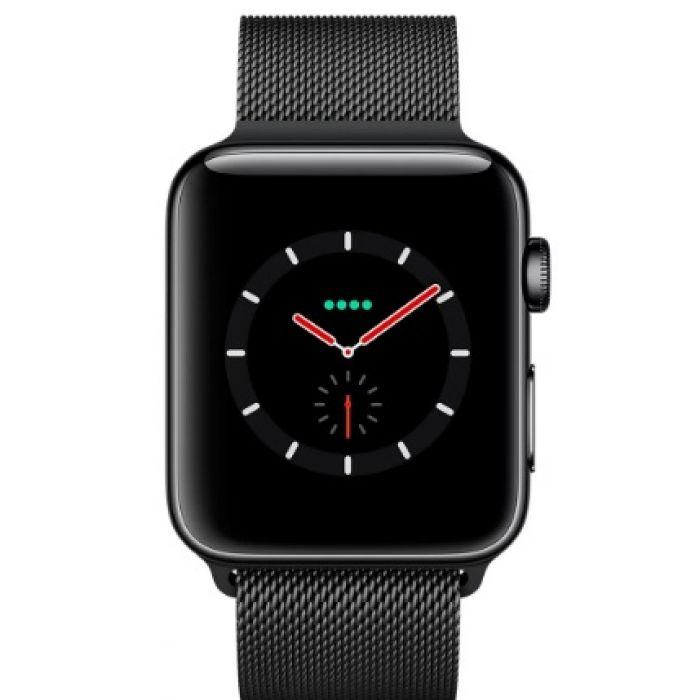 Apple Watch Series 3 LTE 38 мм (сталь черный космос/миланский браслет) (MR1H2)