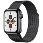 Apple Watch Series 5 GPS + Cellular 40mm Stainless Steel Case with Milanese Loop (Black-Space Black) (MWX92)