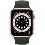 Apple Watch Series 6 LTE 44 мм (сталь золотистый/зеленый спортивный) (M09F3)