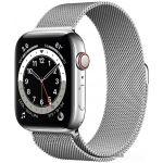Apple Watch Series 6 LTE 44 мм (сталь серебристый/миланский серебро) (M09E3)