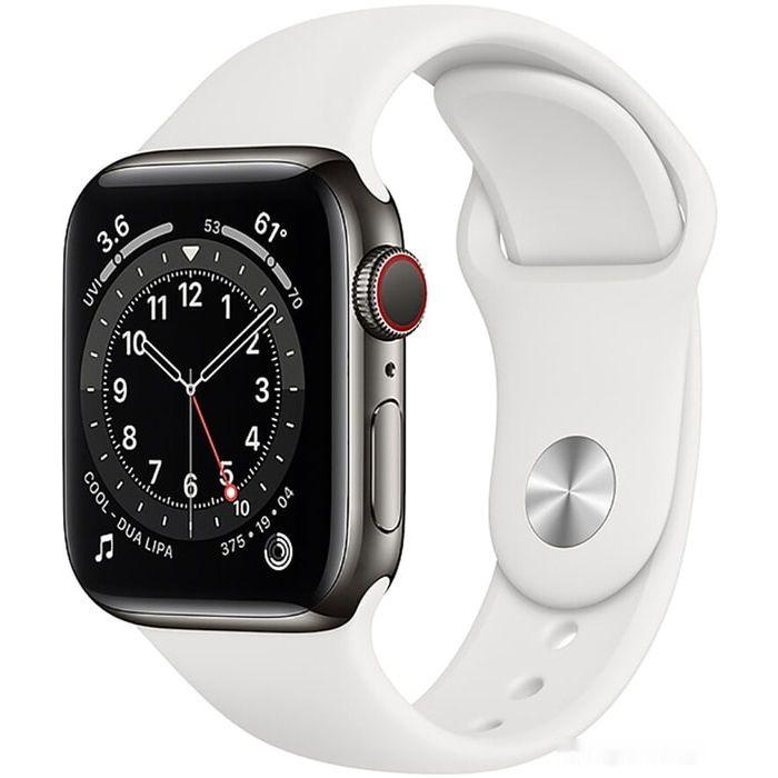 Apple Watch Series 6 LTE 40 мм (сталь графитовый/белый спортивный) (M06T3)